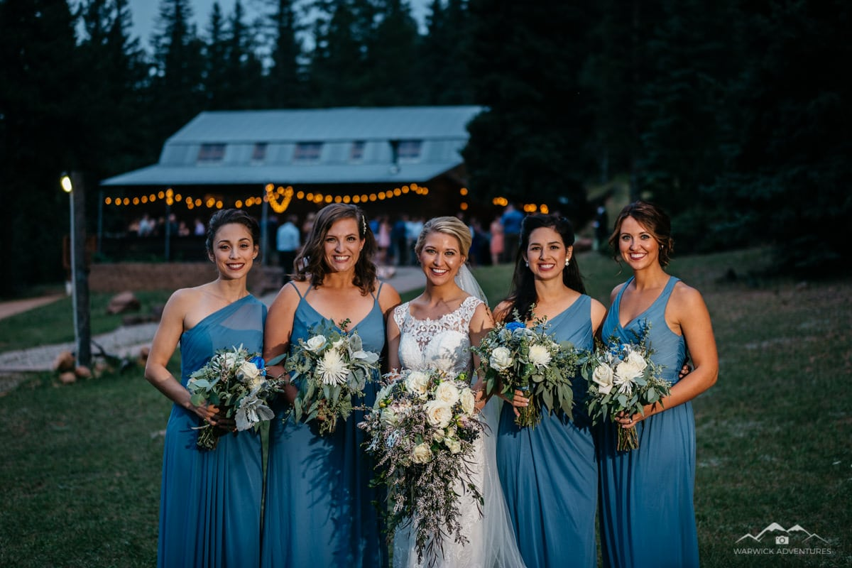wedding bridal party photography mountain ranch